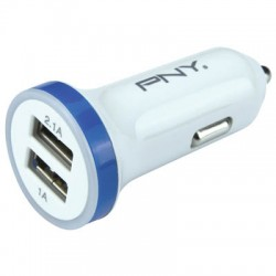 PNY DUAL CAR CHARGER WHITE/BLUE